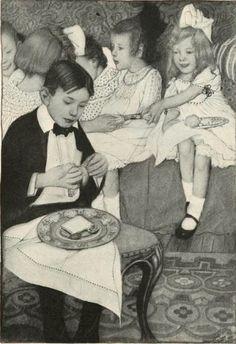 Sarah S. Stilwell, vintage art of children at party, 1904 Blog Pictures, Party Pictures, Xmas Party, Childrens Party, Antique Prints, White Art, Vintage Art, Illustration Art, Artwork