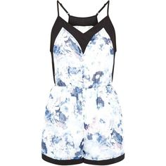Fashion Union Pink Contrast Trim Floral Print Playsuit ($15) ❤ liked on Polyvore featuring jumpsuits, rompers, romper, dresses, jumpsuit, floral print romper, white floral jumpsuit, v neck romper, floral romper and white jumpsuit romper