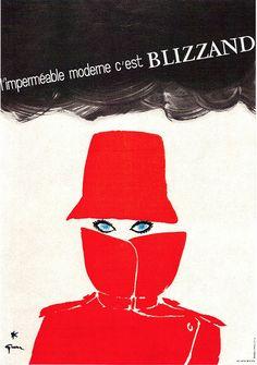 Rene Gruau art | This L'impermeable moderne c'est Blizzard (Red Raincoat for Audrey ...