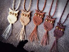 Necklace with sweet macrame OWL pendant. The classic macrame OWL in our version! Macrame Colar, Macrame Owl, Macrame Necklace, Macrame Knots, Macrame Jewelry, Pendant Necklace, Owl Necklace, Macrame Projects, Crochet Projects