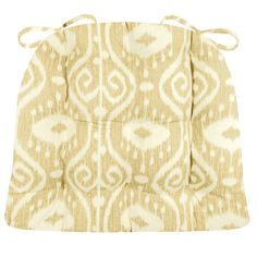 Bali Ikat Wheat Dining Chair Pad Latex Foam Fill Ikkat Scroll Made in USA White Country Beige Traditional Home Decor  #Necessary_Neutrals #Barnett_Home