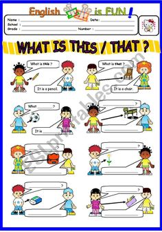 What is this / that ? - ESL worksheet by bburcu English For Beginners, English Lessons For Kids, English Worksheets For Kids, Kids English, English Phonics, Teaching English Grammar, Pre K Math Worksheets, First Grade Reading Comprehension, Grammar For Kids