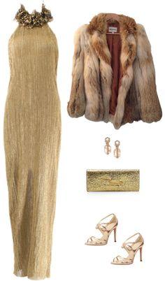 Ralph Lauren  Open Back Golden Gown with Wrap