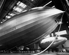 The Hindenburg during a rare stay in the hangar at Lakehurst