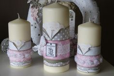 Bougies décoratives Scrapbooking, Communion, Pillar Candles, Decoration, Gift Tags, Creations, Diy, Sweet, Candles