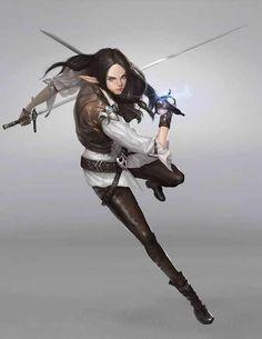 f High Elf Rogue Thief Leather Armor Dual Rapiers urban City undercity underdark Fantasy Character Design, Character Design Inspiration, Character Concept, Character Art, Elf Characters, Fantasy Characters, Weiblicher Elf, Sword Poses, Elfa