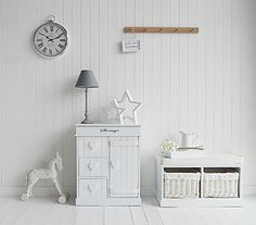 White hallway furniture decorating idea. Pure white from The White Lighthouse