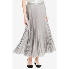 Max Studio London Pleated Metallic Skirt, Created for Macy's (310 PEN) ❤ liked on Polyvore featuring skirts, white pleated skirt, white knee length skirt, max studio skirts, metallic pleated skirt and knee length pleated skirt