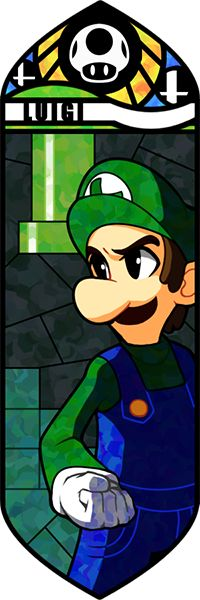 Smash Bros - Luigi by Quas-quas on deviantART. Luigi, stained glass-style. #SSBB #Luigi #fanart