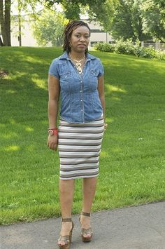 CocoZini » DIYs & Crafts By BiKé OjomoSew This Simple Knit Pencil Skirt in less than 30min - CocoZini