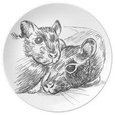 rattus adorable porcelain plate