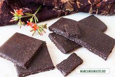 ciocolata pura, neagra, raw Healthy Desserts, Healthy Recipes, Healthy Food, Food And Drink, Gluten, Candy, Vegan, Tableware, Free