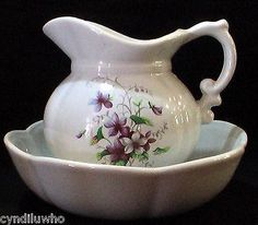 Vintage McCoy Pottery Water Pitcher and Bowl - Purple Flowers #7528