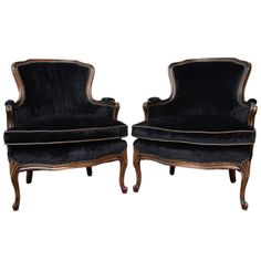 Black Bergere Chairs -French Vintage Pair of Louis XV Bergere Chairs 1st dibs