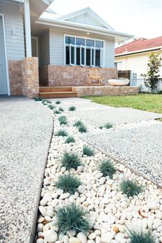 Long Bridge Renewal Front Facade RevealLong Bridge Renewal Front Facade RevealOver 70 trendy ideas for the design of exposed concrete patiosOver 70 trendy ideas for the design of exposed concrete courtyards design patioA Better Driveway Courtyard Design, Facade Design, Garden Design, House Design, Exposed Aggregate Driveway, Exposed Concrete, Front House Landscaping, Driveway Landscaping, Coastal Landscaping