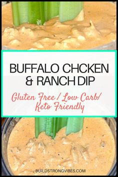 Low carb buffalo chicken and ranch dip! Perfect appetizer for potlucks and other parties! Easy to make, gluten free, keto friendly, and low carb!