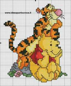 Schema punto croce winnie pooh e tigro Cross Stitch Pillow, Cross Stitch Bookmarks, Cross Stitch Baby, Cross Stitch Charts, Disney Cross Stitch Patterns, Cross Stitch For Kids, Cross Stitch Designs, Cross Stitching, Cross Stitch Embroidery