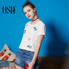 #aliexpress, #fashion, #outfit, #apparel, #shoes OSA, #2016, #Women, #Summer, #slim, #chiffon, #lace, #sweet, #solid, #white, #embroidery, #Shirt, #fashion, #brief, #high, #quality, #Blouse, #S116B12250
