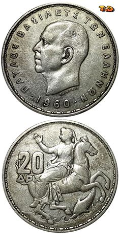N♡T. Greece Years1960 Value20 Drachmai (20 GRD) MetalSilver (.835) Weight7.5 g Diameter26.2 mm Thickness2 mm