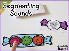 "Phonemic Awareness - Segmenting Sounds This ""Sweet Sounds"" phoneme segmentation activity is a fun way for your students to practice segmenting (and blending) words with three or four phonemes. Teaching Letter Sounds, Teaching Phonics, Phonics Activities, Teaching Reading, Guided Reading, Teaching Ideas, Reading Activities, Reading Centers, Reading Groups"