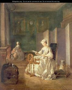 Interior with Two Figures, first half 18th century by Etienne Jeaurat (1699-1789). The lady in foreground appears to wear a robe volante.