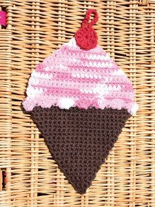 Ice Cream Crochet Dishcloth - a great way to celebrate National Ice Cream Day!