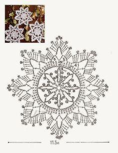 Crochê Tricô - Gráficos: Gráficos/Receitas - Crochê: Flocos de Neve