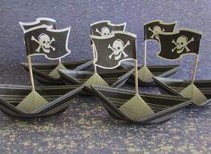 24 paper boat  party decor lot of 24 boats Skull by shredlock