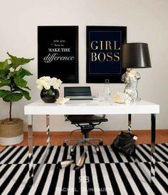 Glamorous Home Office Boss Black Desk White Decor Corporate
