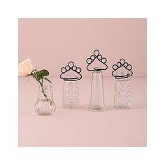 4 Piece Vintage Inspired Pressed Glass Vases and Place Card Holder Set Set of 8  | eBay