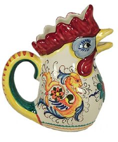 Raffaellesco Rooster water pitcher #jadore Water Pitchers, Mid Century Decor, Rooster, Plates, Mugs, Patterns, Antiques, Tableware, Licence Plates
