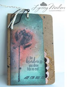 """By Lynsay Mahon. Uses """"Lotus Blossom"""" stamp from Stampin' Up. Background is sponged ink. Atc Cards, Card Tags, Journal Cards, Stampin Up Cards, Cards For Friends, Card Maker, Cool Cards, Flower Cards, Tag Art"""