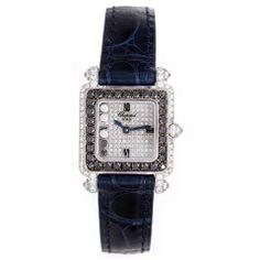 Chopard Lady's White Gold and Diamond Happy Diamond Square Wristwatch