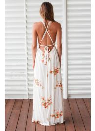 White floral printed high halter neck open back maxi dress