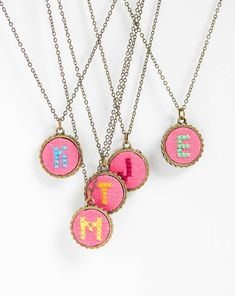 Both elegant and playful, this Personalized necklace with hand embroidered initial is a nice piece for a vintage lover. With such an eye-catching jewel you will never remain unnoticed. Just choose your favourite color and Ill put your initial on this optimistic pink cloth!  ***Personalization options*** ---Initial--- You can see patterns for all letters on one of images. I can make any letter you want. ---Color--- On the last image you can see the colors I can use for initial, you can let me…