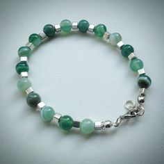 Beaded bracelet - Green Banded Agate and Silver Cube Beads