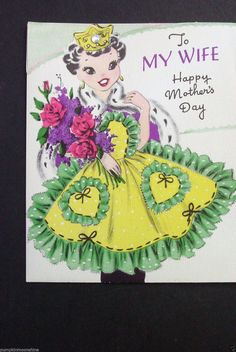 I 222 Vintage Unused Mother's Day Greeting Card Frilly Apron Gemstone Crown | eBay