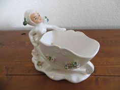 Vintage Lefton Pixie Elf Fairy Opalescent White Planter