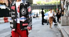http://chicerman.com  billy-george:  That jacket is amazing  Spotted at New York Fashion Week  Photo by George Elder  #streetstyleformen