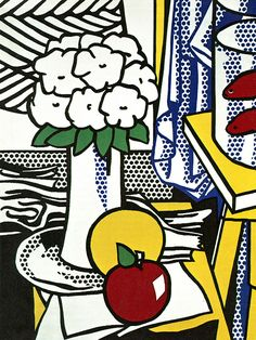 Roy Lichtenstein Oil Painting on Canvas Pop art Still Life Roy Lichtenstein Pop Art, Jasper Johns, Arte Pop, Henri Matisse, Andy Warhol, Modern Art, Contemporary Art, Industrial Paintings, Culture Pop