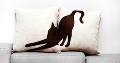Stretching cat cushion covers - 16 x 16 inches - beige dark brown - decorative pillow - sofa pillow - cojín del sofá - cat pillow by ItsTimeToDream on Etsy Cushion Inserts, Cushion Covers, Pillow Covers, Cat Pillow, Pillow Set, Dorm Pillows, Throw Pillows, Sofa Cushions, Brown Cat