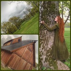 Revisited  #Borrehaugene grave-mounds today! 🌳 It's such a wonderful, historical place with beautiful nature surrounding the seven large mounds and one cairn that can be seen to this date. 🌾🌊 (There's loads of old oak trees like the one I'm hugging 💚) The #longhouse also looked glorious as ever! 🔥Stepping back in time for a while and breathing the crisp air felt so good.. *happy sigh* 🌿☔️ #gildehall #vikinglife #vikings #vestfold
