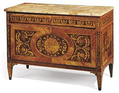 Very Fine, Northern Italian, Neoclassical period, marquetry-inlaid commode: Milan, Circa 1780, school of Giuseppe Maggiolini, with possibly later beige marble top.