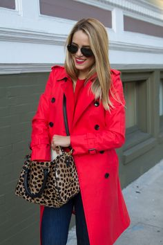 We love a bold trench paired with a leopard bag