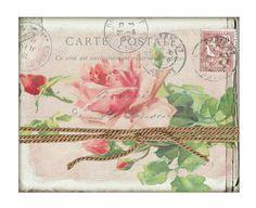 Shabby French Postcard Carte Postale Vintage Graphics Antique Botanical Pink Roses Digital  Collage Sheet Printable