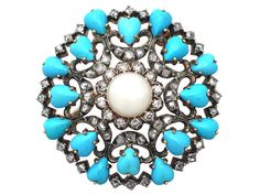 Antique Victorian 1.36 ct Diamond, Pearl and Turquoise, 18 ct Yellow Gold Brooch (Unknown)