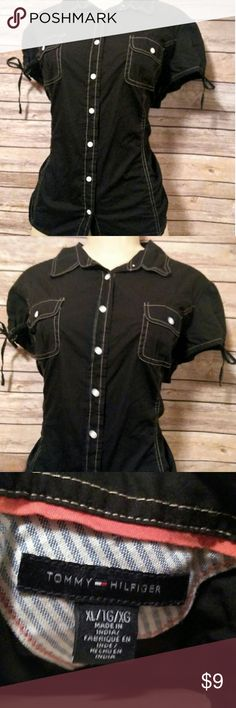 Womens black XL Tommy Hilfiger button up blouse Great condition. Tommy Hilfiger Tops Tees - Short Sleeve