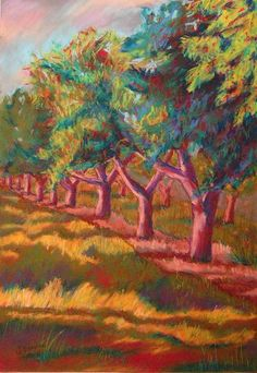 All In a Row by Tracey Flanigan...pastel of cherry trees on Old Mission Peninsula in Michigan