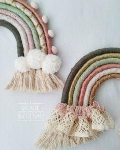 23 Clever DIY Christmas Decoration Ideas By Crafty Panda Rope Crafts, Yarn Crafts, Diy Crafts To Sell, Diy Crafts For Kids, Yarn Wall Art, Macrame Wall Hanging Diy, Baby Accessoires, Idee Diy, Rainbow Wall