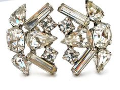 Clear Rhinestone Earrings Silver Prong Set by TheJewelryLadysStore